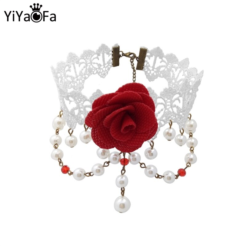 YiYaoFa ручная работа, Винтажное колье, белое кружевное массивное ожерелье для женщин, аксессуары, женские Готические свадебные ювелирные изде...