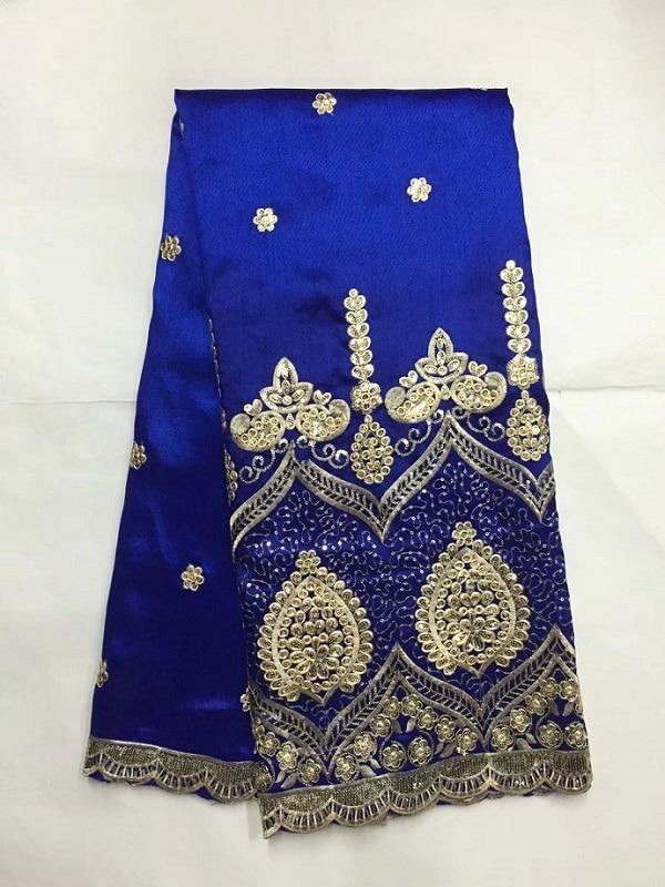 Lantejoulas Tecido de Renda George Africano Com Blusa India Safira Casamento Lantejoulas Laces Africano Ouro Linha Material de George azul (4 -19