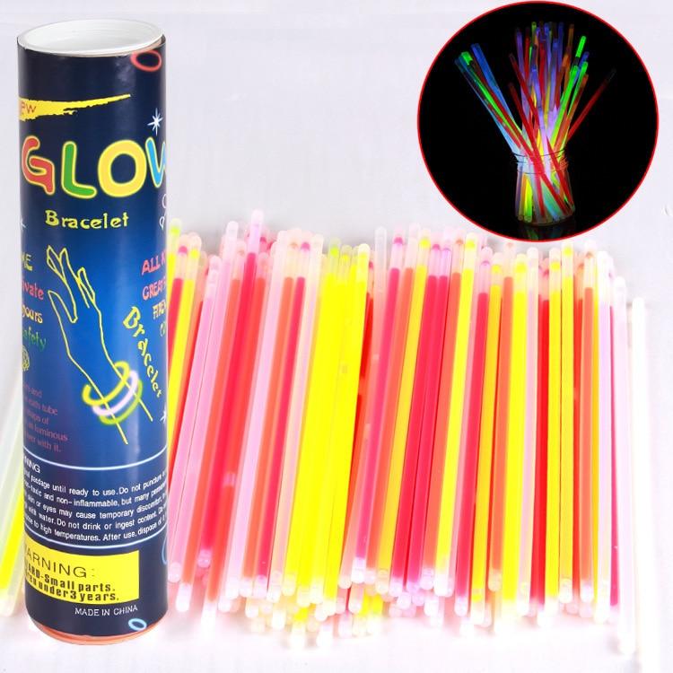 100PCS 7 Color Glow Stick Safe Light Stick Necklace Bracelets Fluorescent for Event Festive Party Supplies Concert Decor