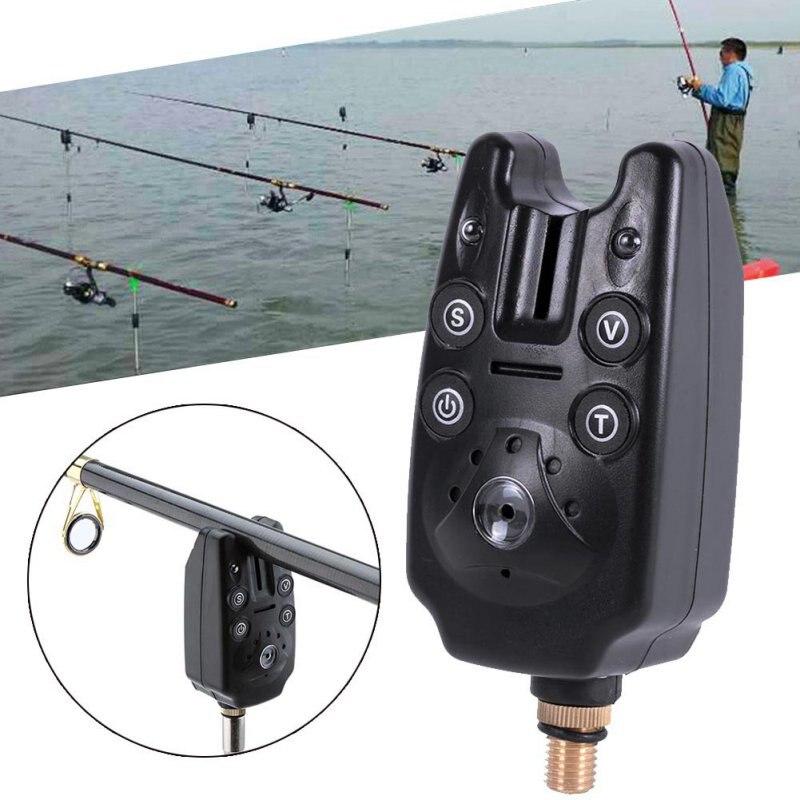 Caja electrónica de aparejos de alarma de pesca con tono LED, resistente al agua, alarma de picadura de pescado ajustable, equipo de pesca con sensibilidad de sonido