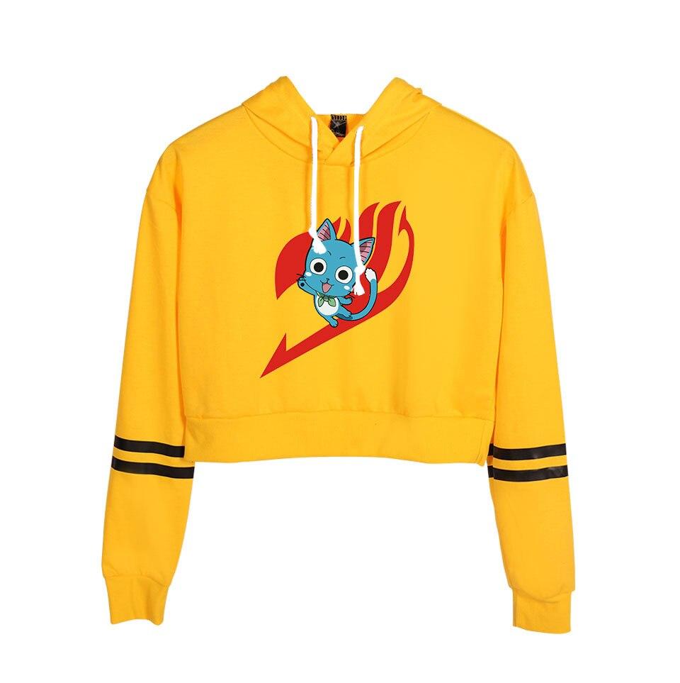 Anime de cola de hadas Top Sudadera con capucha para niñas Harajuku sudadera Cropped Streetwear Hip Hop manga larga con capucha Tops Jersey