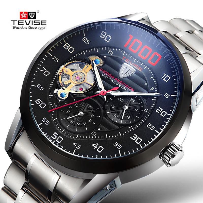 Relojes mecánicos automáticos de acero para hombres, la mejor marca cronógrafo de TEVISE, reloj Tourbillon, reloj de pulsera para hombres, relojes militares para hombres