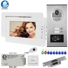 Caméra TFT interphone vidéo couleur 7   RFID avec 2 moniteurs + verrouillage à grève électrique + déverrouillage de télécommande sans fil pour 2 appartements
