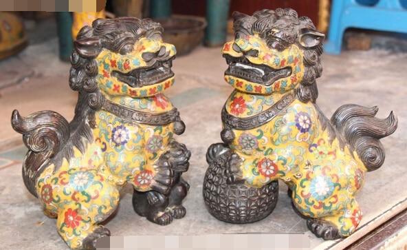 Xd 003427 8 Fengshui chino Cloisonne bronce León pie fu perro bestia bola hijo estatua par