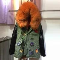 women winter leather jacket with fur army green parkas women orange raccoon fur collar badge parka sleeve leather
