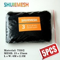 High Quality 6M x 2.5M 15mm Hole Orchard Garden Polyester 75D/2 Knotted Anti Bird Mist Net 5pcs