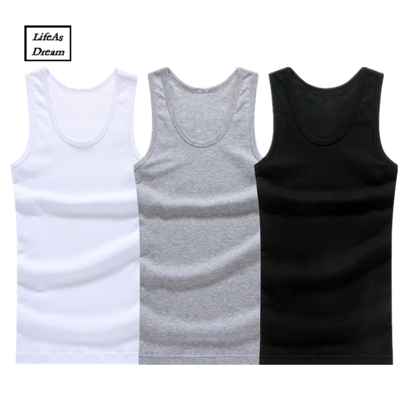 3pcs/lot Cotton Mens Underwear Sleeveless Tank Top Solid Muscle Vest Undershirts O-neck Gymclothing