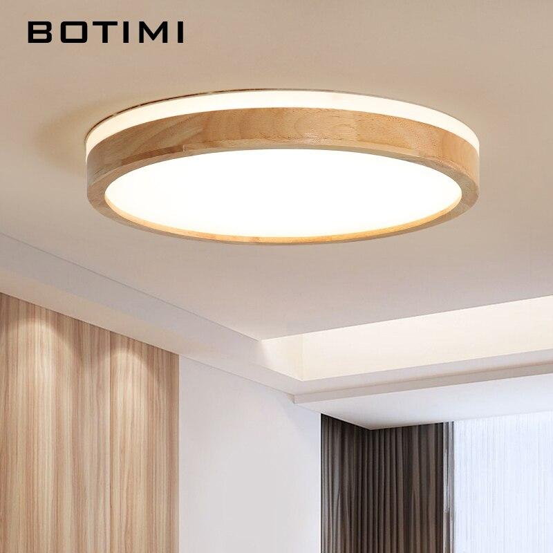 BOTIMI, 220 V, luces LED para techo, rectángulo de madera, techo de la lámpara montada para sala de estar, lámparas de techo redondas, lámparas modernas de madera