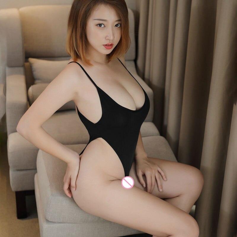 Sexy Frauen Milch Eis Silk Sehen Durch High Cut Body Glatte Dünne Tanga Backless Transparent Erotische Dessous Trikot F8