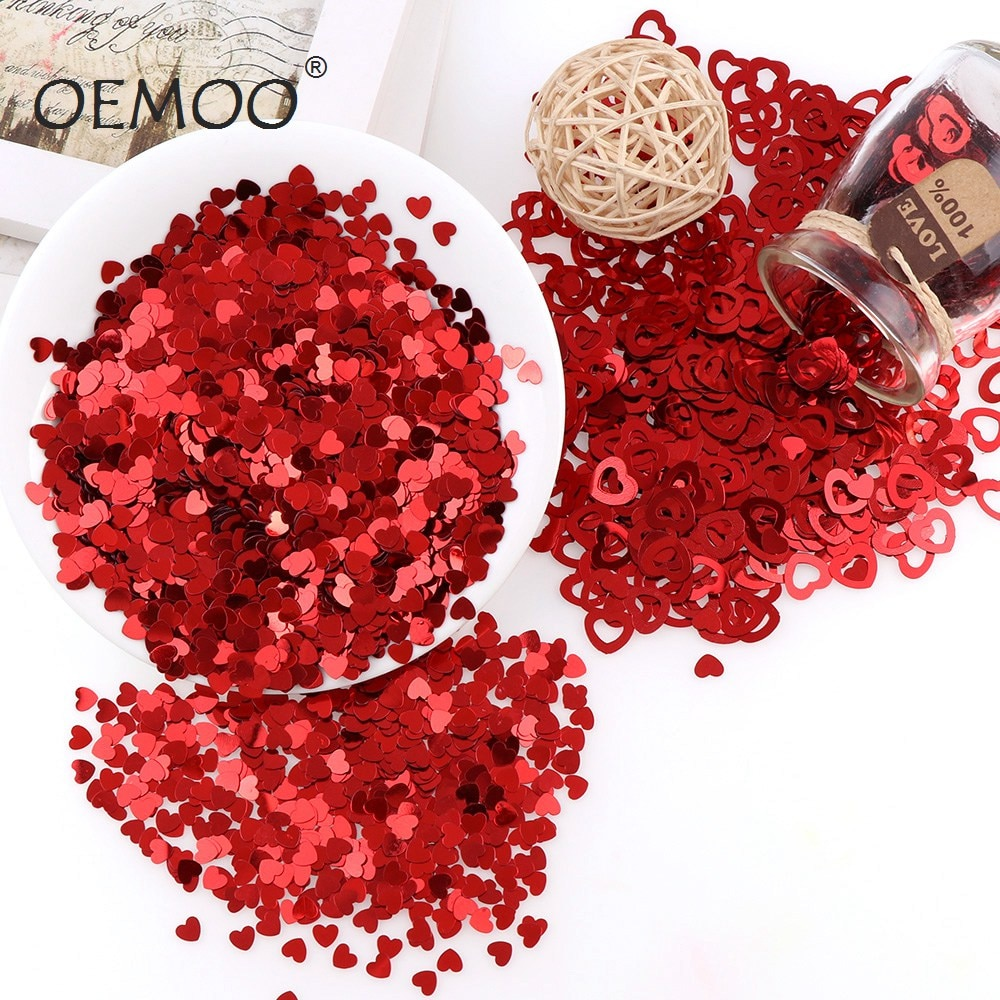 AliExpress - 15g/30g/45g Heart  Paillettes Glitter PVC Lose Sequins Beautiful GlitterWedding Party Table Decoration for Romantic Atmosphere