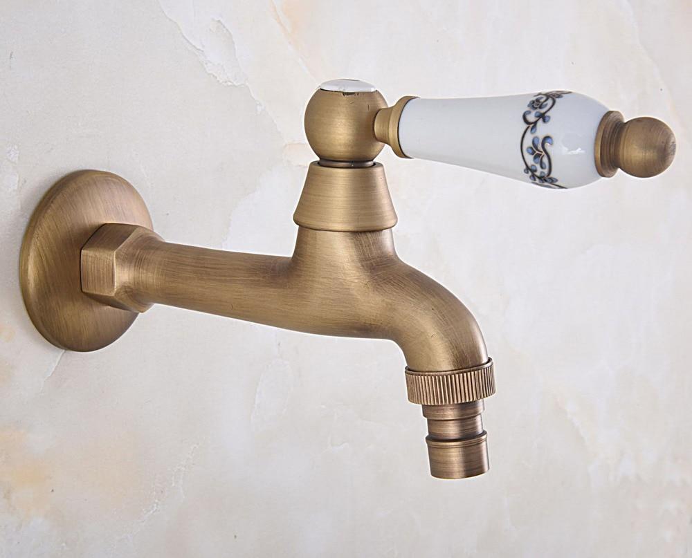 Grifo de lavadora de baño de un solo mango de cerámica de latón antiguo/grifo de agua de jardín/grifos de agua del fregadero de lavandería mav313