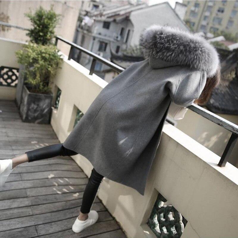 Abrigo de lana U-SWEAR para mujer, abrigo de lana para tiempo libre, 2020 nuevo, color sólido, Cuello de piel con capucha, invierno, mediano, largo grande, talla S-XL