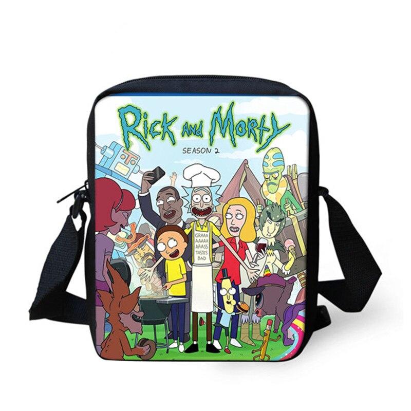 ELVISWORDS Funny Cartoon Messenger Bags For Women Men Shopping Mini Shoulder Pack Rick And Morty Crossbody Bag Travel Handbag