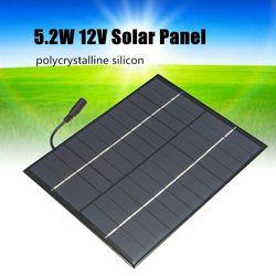 12v 5.2w mini painel solar policristalino células solares silício epóxi módulo solar diy sistema carregador de bateria + saída dc