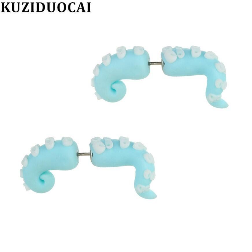 Kuziduocai New Fashion Jewelry Cute Quaint Soft Pottery Stitching Octopus Tentacle Statement Stud Earrings For Women Girls Child