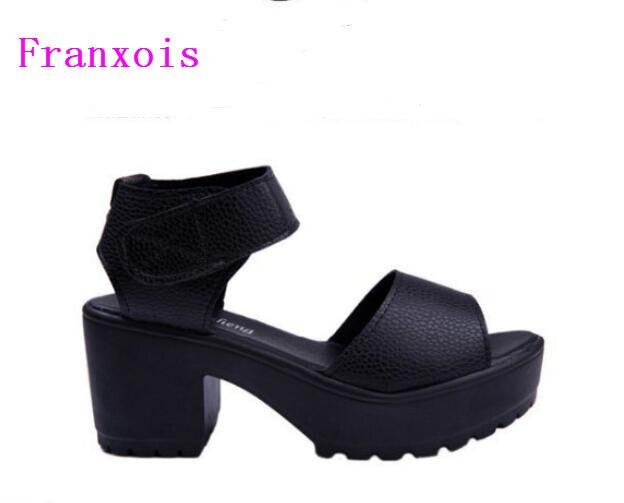 2019 Women Summer shoes fashion platform soft PU sandals women's high-heeled shoes thick heel sandals big size 25 cm