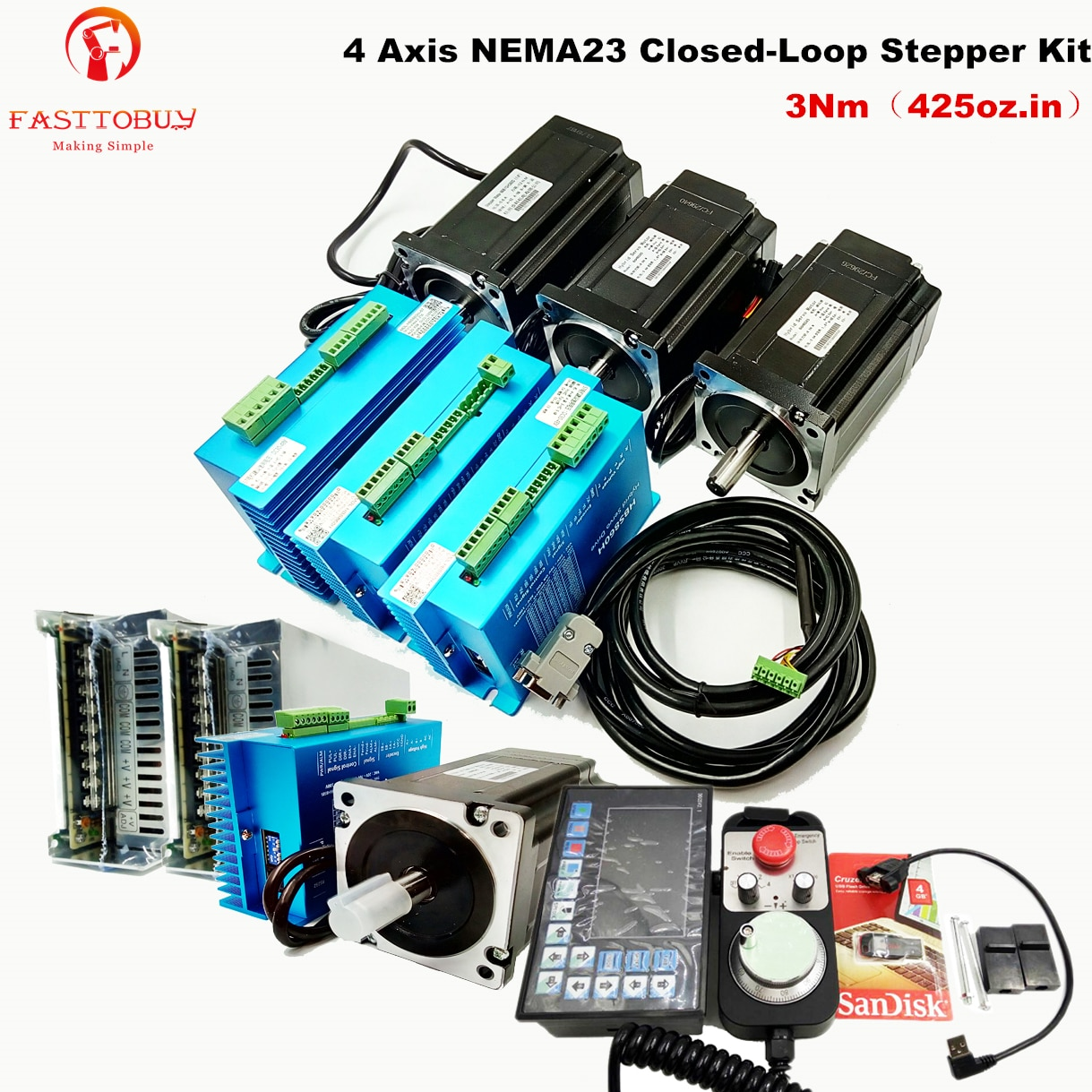 4 Axis NEMA23 3Nm 425oz.in Closed-Loop Stepper Kit Stepper Drive+Motor+DDCSV2.1 Offline Controller+Handwheel+Power Supply set