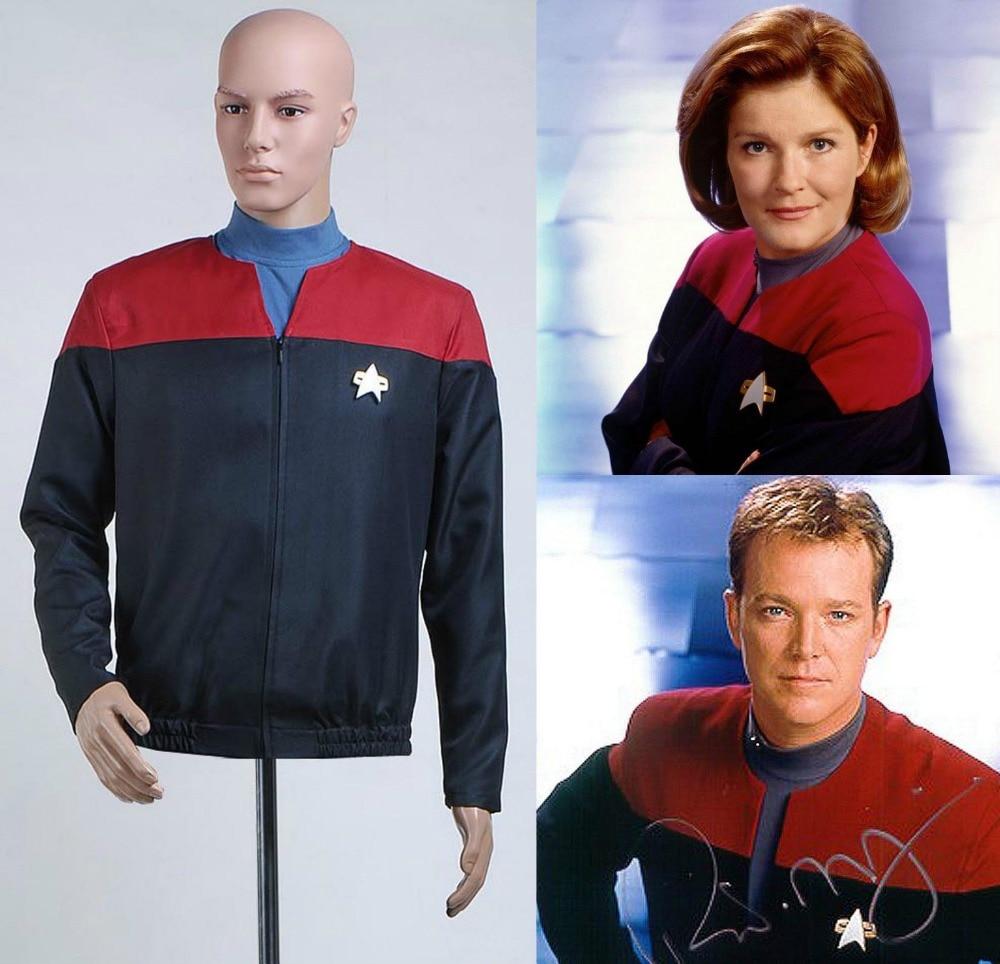 Star Voyager Command Trek Cosplay Costume Captain Uniform Jacket+Shirt+Badge