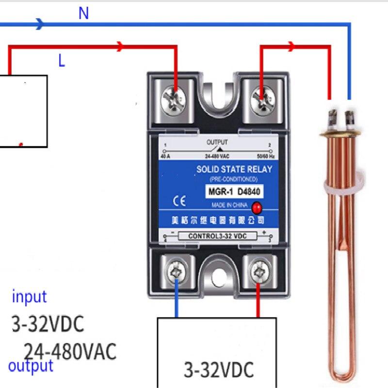 الحالة الصلبة تتابع مرحلة واحدة 220 فولت ssr-40da MGR-1 D4810 D4825 D4840 40a D4860 تيار مستمر التحكم التيار المتناوب شحن مجاني