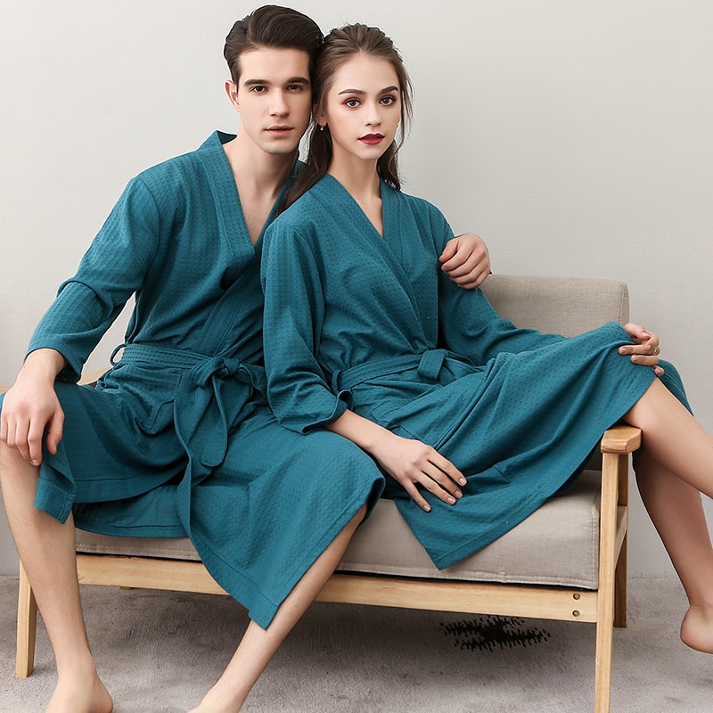 Verão algodão toalha de banho roupão de banho unisex mulheres dos homens waffle sono lounge roupão peignoir camisas amantes roupões presentes