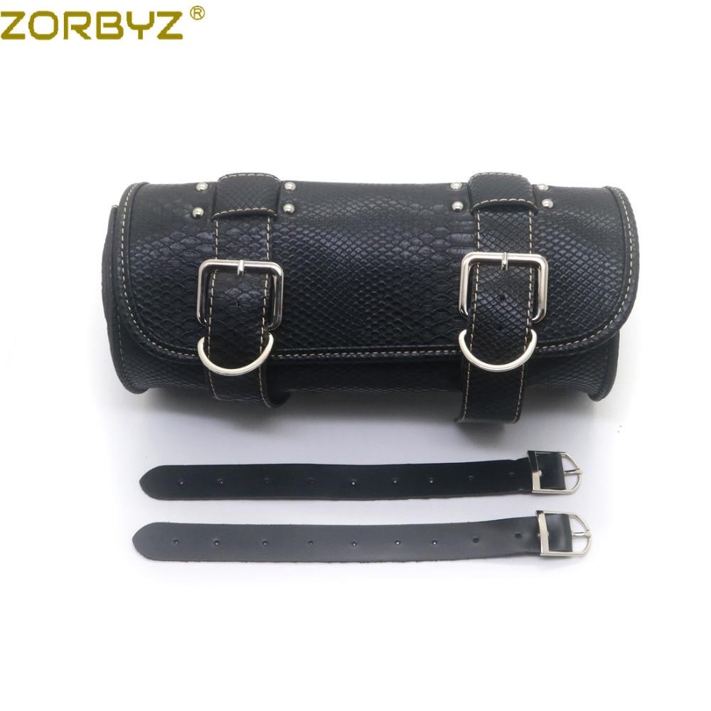 ZORBYZ Motorcycle Black Retro Crocodile Synthetic leather Tool Bag Handlebar Sissy Bar Saddlebag Roll Barrel Bag For Harley