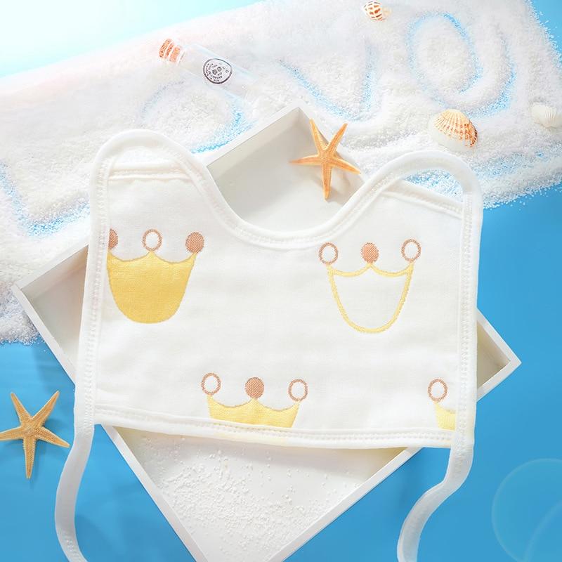 10PCS 22*15CM Cartoon Crown Whale Newborn Baby Bibs Waterproof Adjustable 100% Cotton Feeding Baby Saliva Towel For 0-24 Months