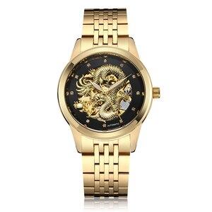LUXury Dragon Skeleton Watch Automatic Mechanical Watches Men Wrist Watch Stainless Steel Strap Waterproof Men bayan kol saati