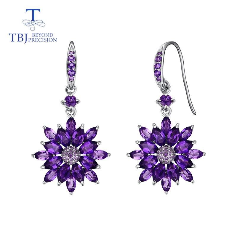 TBJ-أقراط عتيقة على شكل زهرة للنساء ، أقراط متدلية ، أحجار كريمة جمشت أفريقية طبيعية ، مجوهرات راقية ، ارتداء يومي