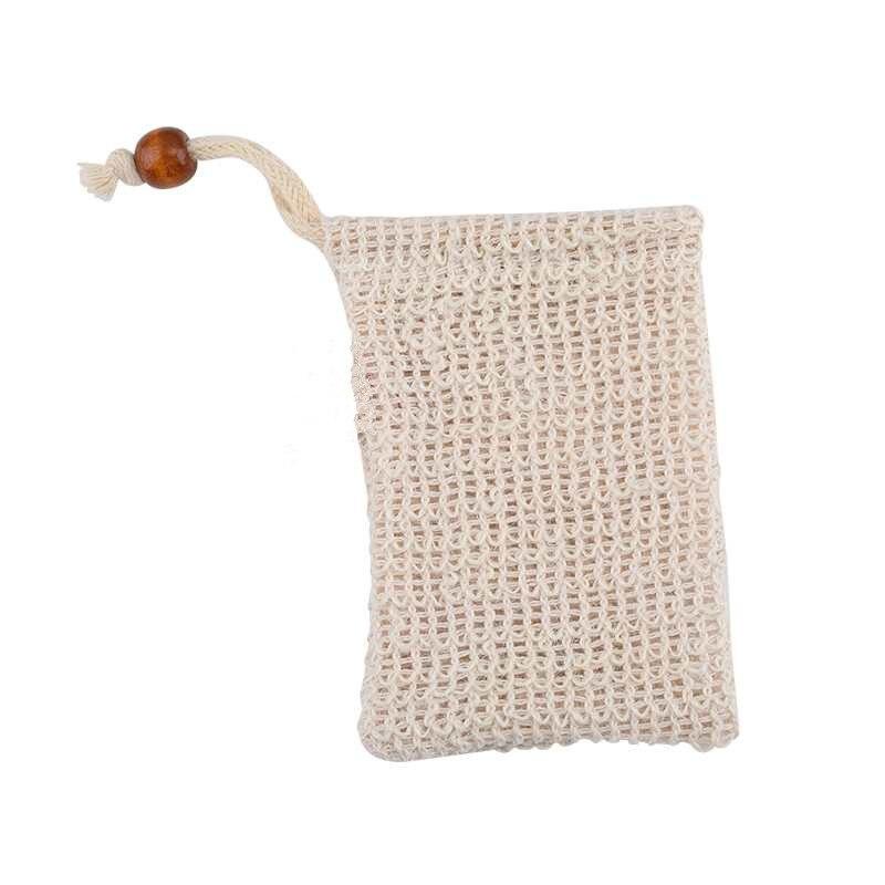 1 Pza bolsa de jabón de malla de espuma guantes de baño exfoliante antideslizante manga Sisal cuerpo exfoliante guante