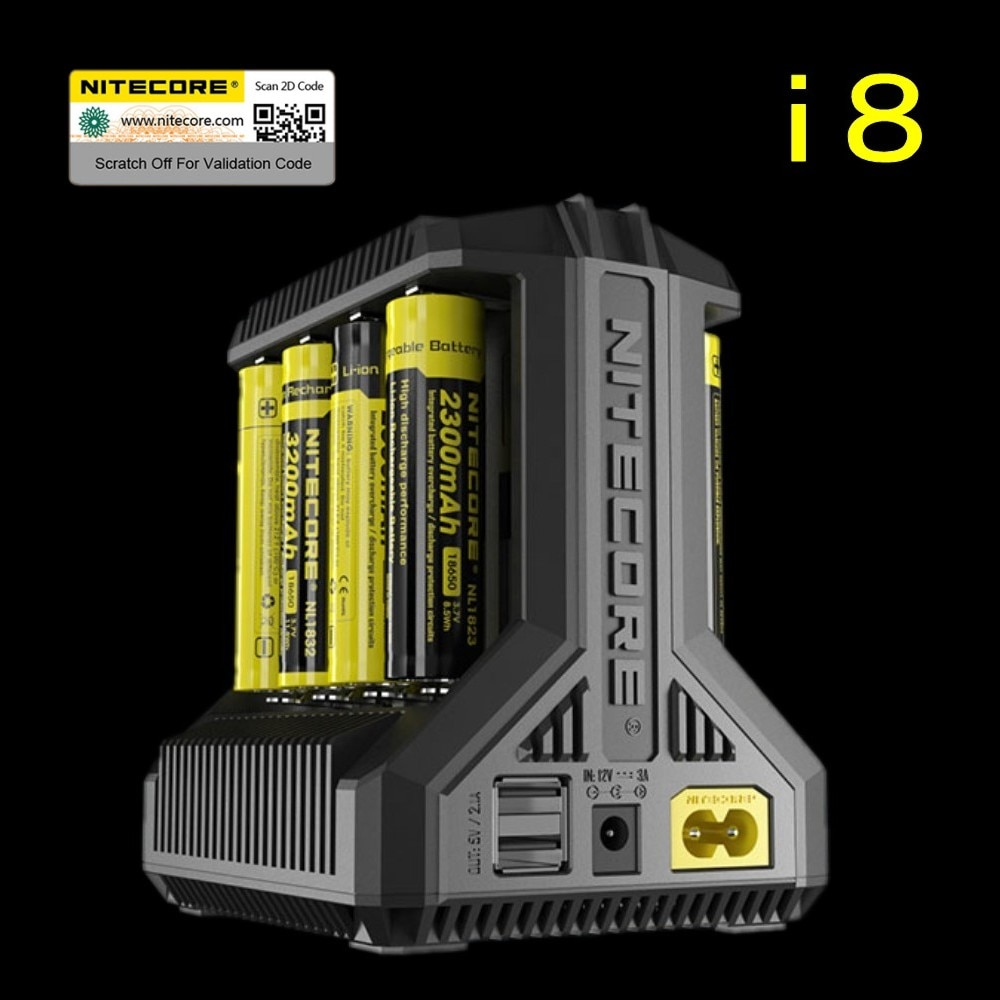 Nitecore i8 Intelligente Ladegerät 8 Slots Insgesamt 4A Ausgang Smart Ladegerät für IMR18650 16340 10440 AA AAA 14500 26650 und USB Gerät