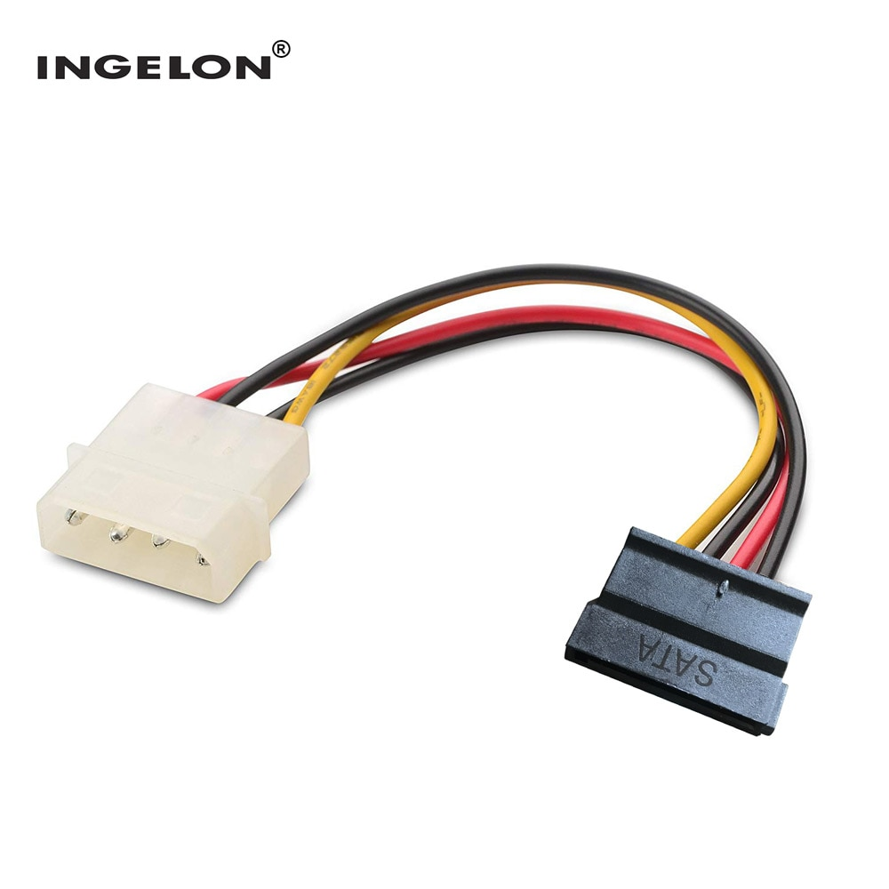 Ingelon Sata Power Cable Molexe IDE to Serial ATA Power Adapter 4 Pin to 12 Pin Cable hard disk Sata to esata 6.9inch SSD Cable sata to esata 4 pin ide power port bracket cable w power cable esata cable black red silver