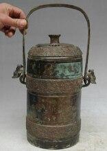 """Chanson voge gem S2273 16 """"vieille chine Bronze mot eau navire articles vin Portable Pot Pot bouteille bouilloire"""