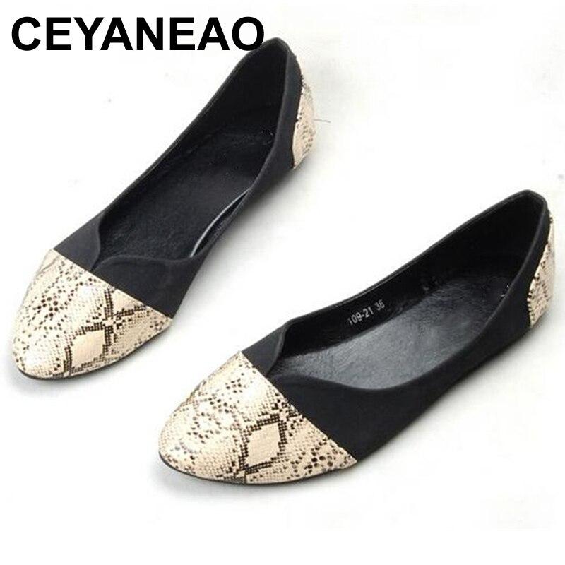 CEYANEAO nouvelle mode femme chaussures dame chaussures plates femmes enceintes chaussures peau de serpent modèle Style grand grand size35-41 livraison gratuite