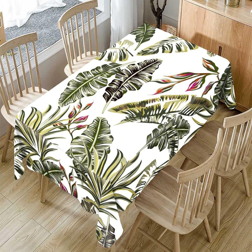 Toalha de mesa pastoral 3d folhas de palmeira grandes folhas de pano de mesa tropical retângulo mesa de jantar esteira para decoração de casa