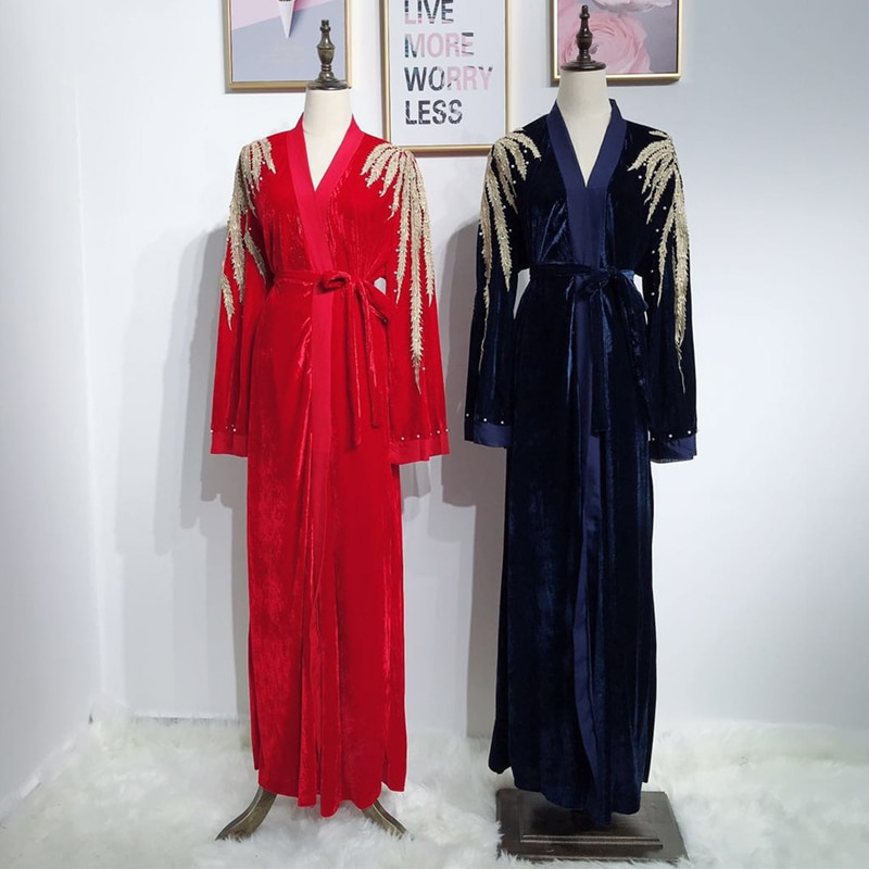 Kaftan Abaya Kimono Cardigan Muslim Hijab Dress Abayas Women Robe Dubai Ramadan Caftan Elbise Prayer Turkish Islamic Clothing
