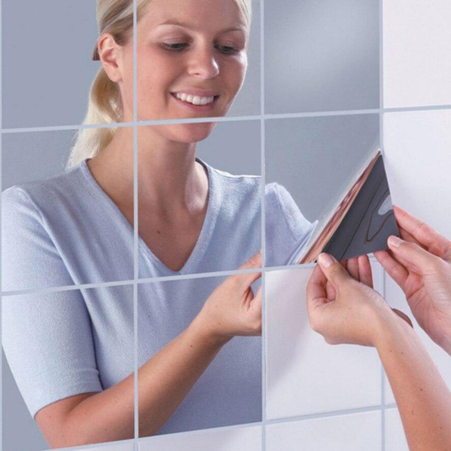16 шт. квадратная зеркальная плитка наклейки на стену 3D наклейка Мозаика самоклеющаяся Мозаика из зеркал для ванной поверхности Водонепрони...