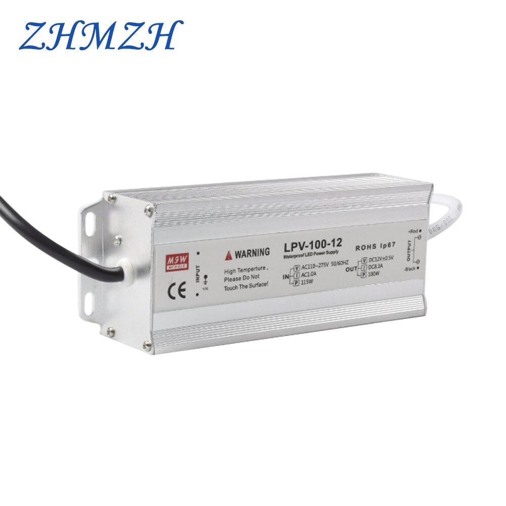 AC 100 V-265 V 100W LED fuente de alimentación de CVCC IP67 impermeable 8.5A controlador de LED DC 12V
