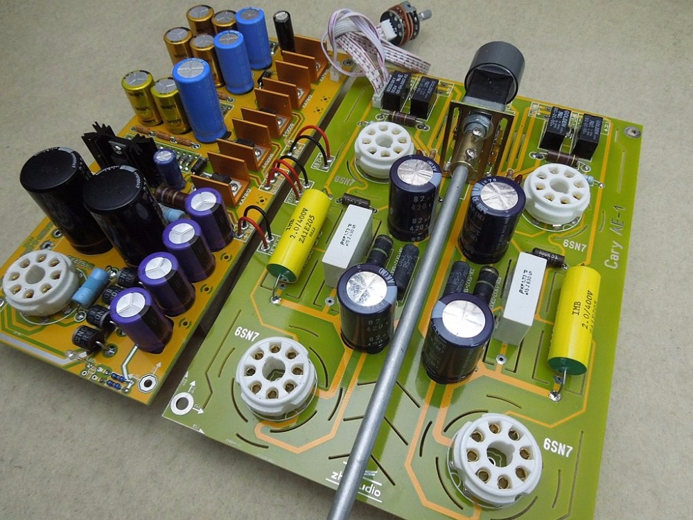 Hi-end 6sn7/6n8p válvula & tubo de vácuo pré-amplificador estéreo placa de alta fidelidade referência estados unidos cary AE-1 circuito
