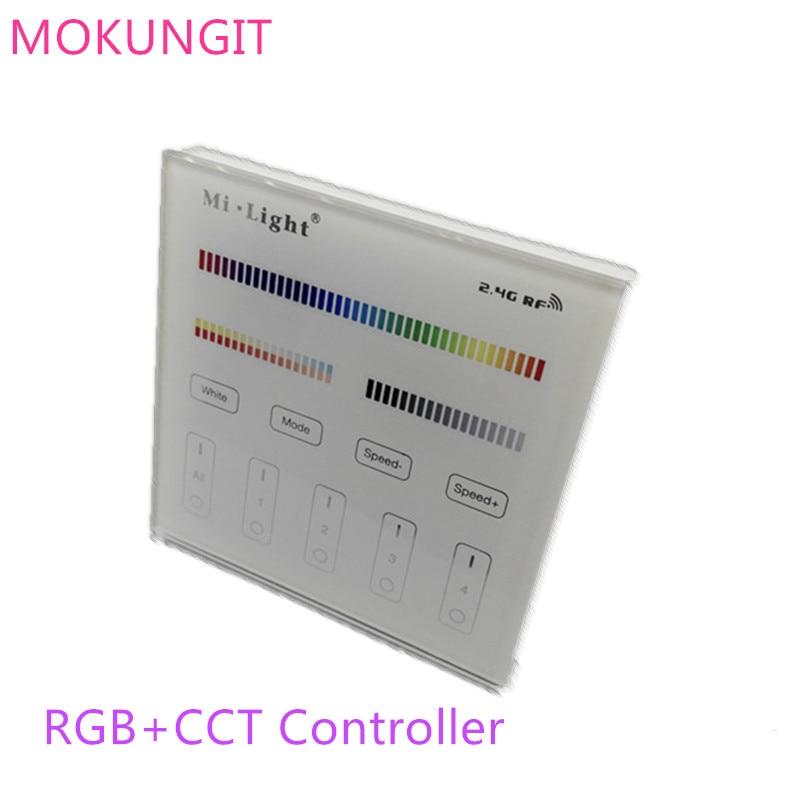 Mi.light de 2,4G, 2,4G, B4 T4, 4 zonas RGB + CCT, Panel táctil Led inteligente, controlador remoto para tira de luces led o bombilla