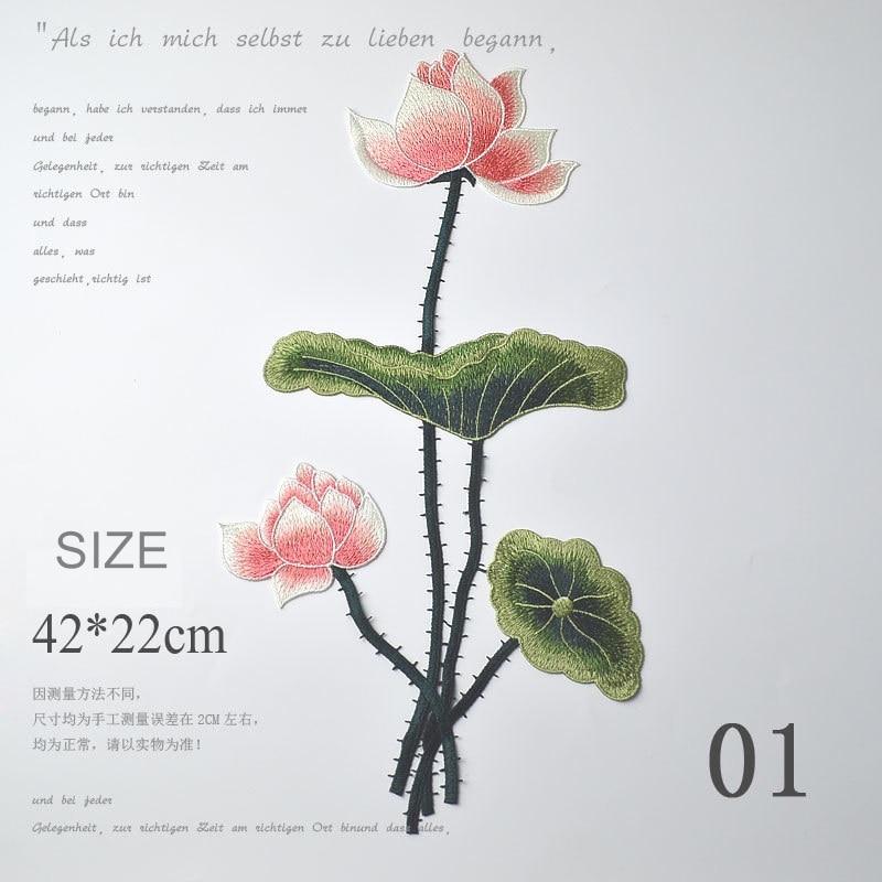 1 sztuk ręcznie haft rozpuszczalny w wodzie kwiaty lotosu plastry słodkie kwiaty rośliny patch DIY tkaniny naklejki przyszyć na ubrania