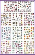 11 paquets/LOT tampon de SIMULATION 3D autocollant de tatouages dongles autocollant drapeau NATIONAL timbre POST E204-214