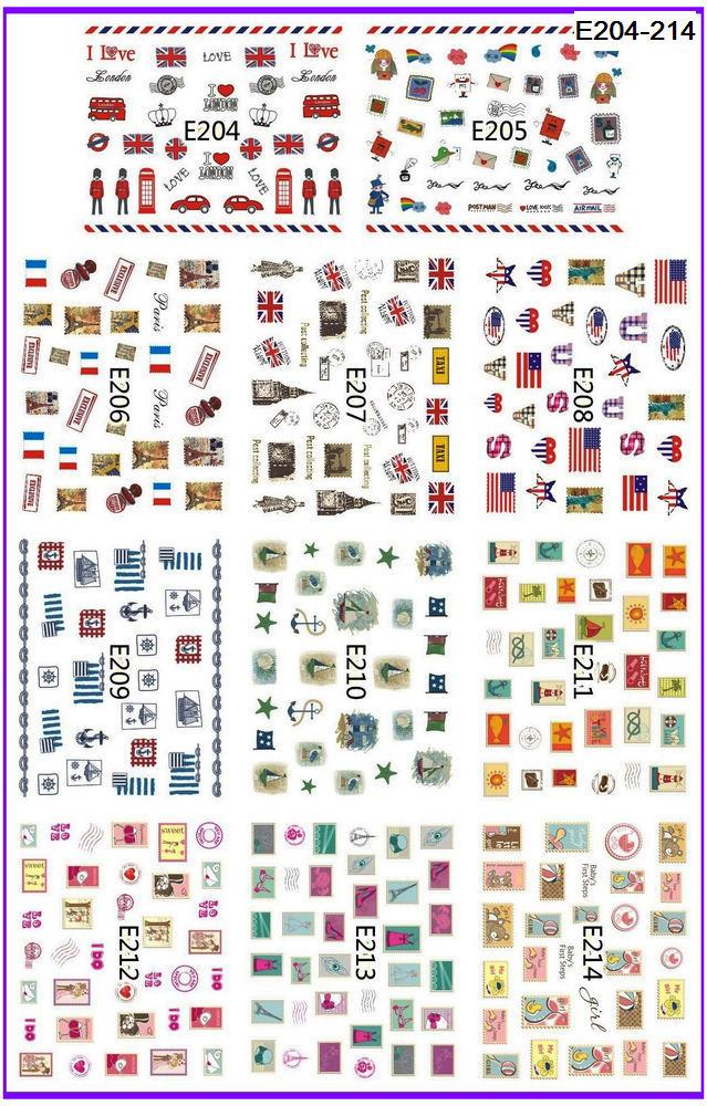 11 paquetes/lote 3D sello de simulación autoadhesivo tatuajes de uñas pegatina Bandera Nacional sello postal E204-214
