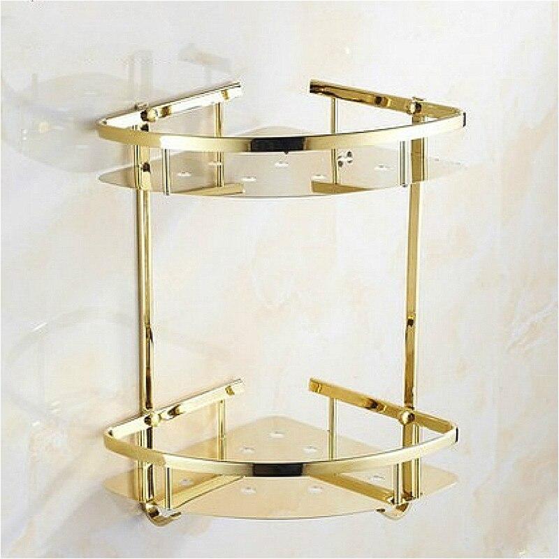 Cesta triangular dorada, estante de estilo europeo, colgante de acero inoxidable para baño, marco de ángulo doble, cesta triangular para Baño