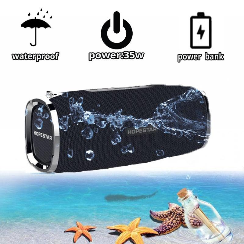 Altavoz Bluetooth HOPESTAR A6, altavoz inalámbrico portátil, barra de sonido, estéreo 3D para exteriores, banco de potencia grande impermeable de 35W