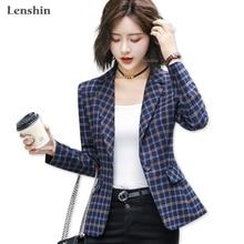 Lenshin chaqueta de cuadros suave y cómoda de alta calidad con bolsillo de oficina de estilo informal Blazer para mujer ropa de abrigo con un solo botón