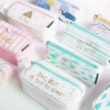 1 Pc Kawaii Large Capacity Grid Canvas School Pencil Cases Creative Cute Pen Bag Box Pouch Office Stationary Supplies 04939