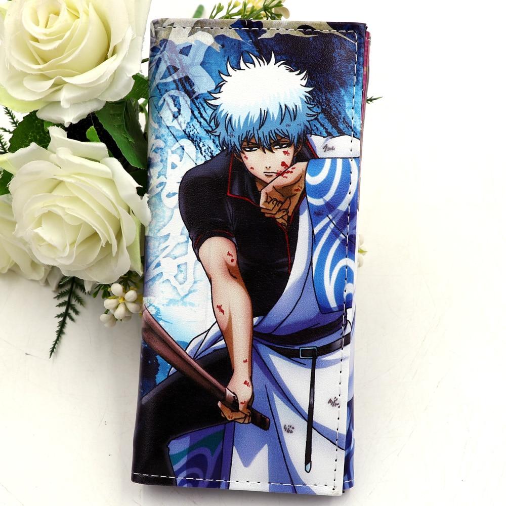 Gintama Anime Sakata Gintoki billetera larga de cuero bolso de mano para hombre con tarjetero