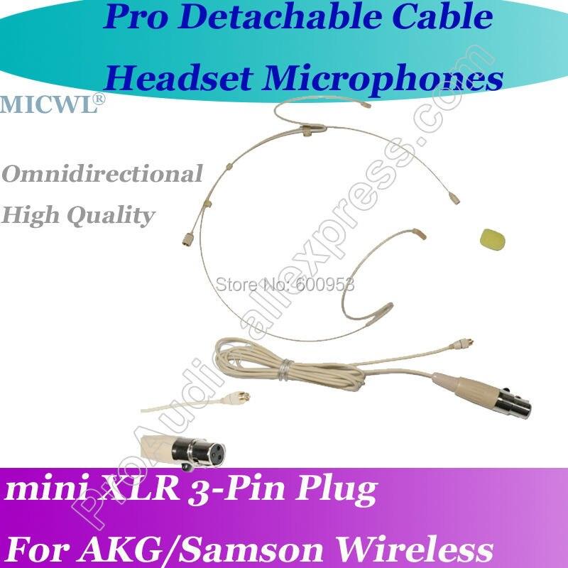 Microfone destacável para fone de ouvido sem fio, para akg samson gemini