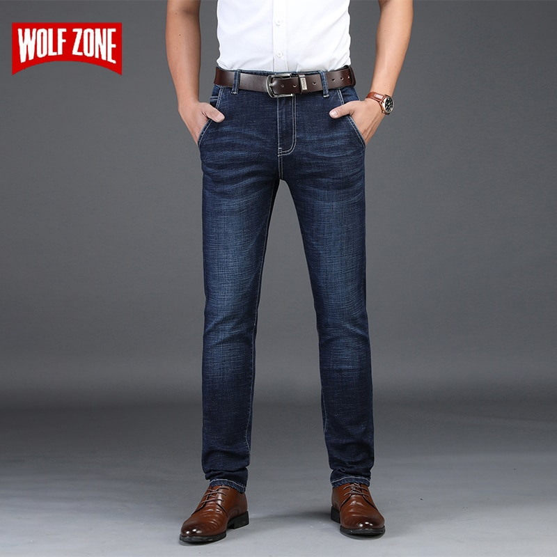 Модные деловые повседневные Стрейчевые джинсы, Мужские осенне-зимние облегающие мужские джинсовые брюки, мужские брюки большого размера ...