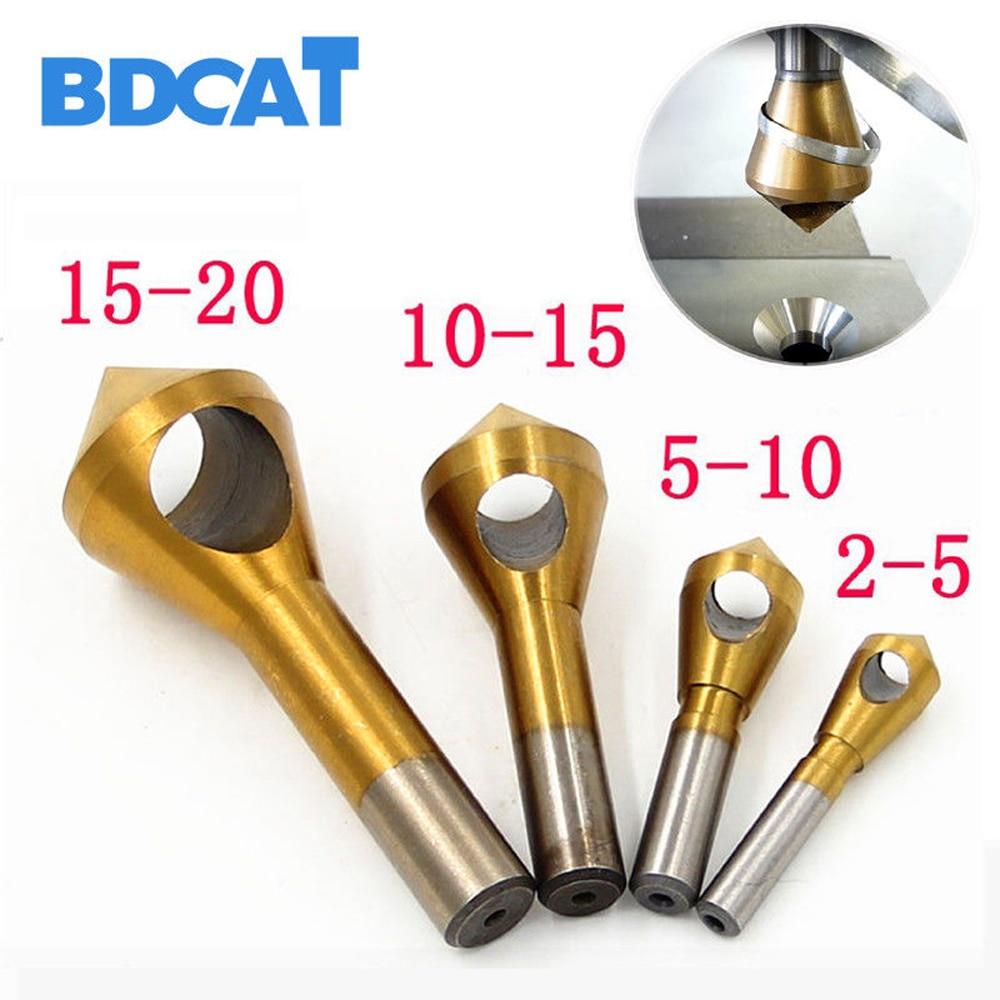 Bdcat 4 pçs/set 2-5mm 5-10mm 10-15mm 15-20mm titânio revestido bancada & centro deburring brocas expandindo passo chanfradura